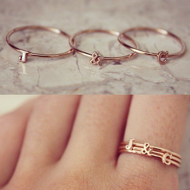 Cute stackable alphabet rings, handmade in solid 14ct Gold, choose between Yellow, Rose or White! Mix & match or just stack them up. Have your initials, lover, pets name, kids initial, add a sweet love heart, star, half moon and ampersand. Perfect gift for yourself, anniversaries, friendship rings - what ever the occasion! Available in Caps and small font. Also available in 9ct or Sterling Silver. Matching necklaces, earrings and bracelets available. *Please note these rings are individu...