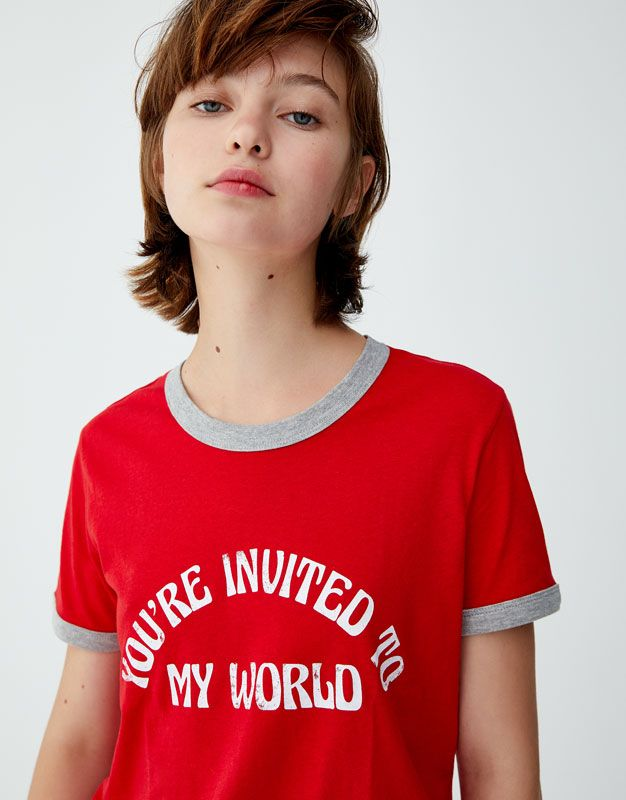 4ddb325c T-shirt with retro slogan and ribbed trims | Polo moda mujer ...