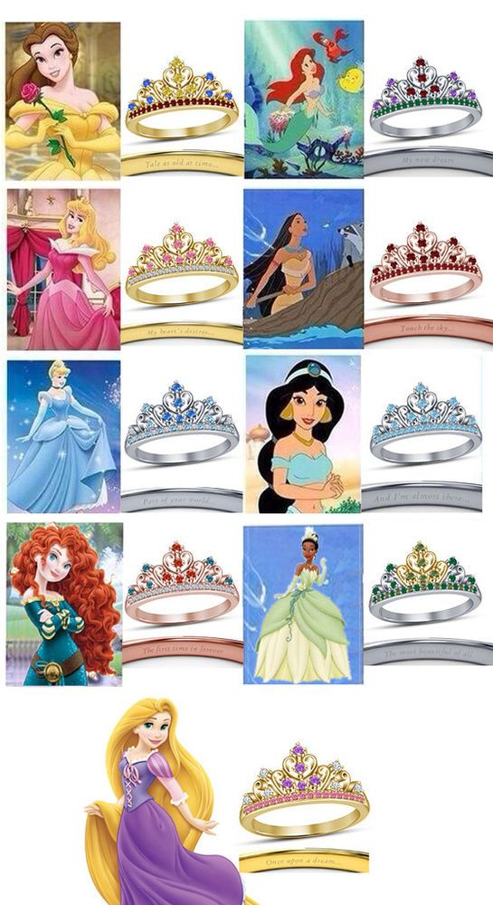 Beautiful Ladies Multi-Color Round Cut CZ Disney Princess Crown Engagement Ring…