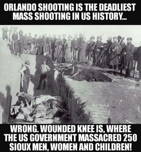 The Wounded Knee Massacre took place on December 29, 1890. Our government shot and killed 250 men, women, and children of the Lakota Indian tribe.