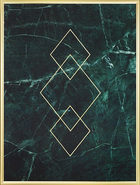 Poster in green marble and triangles in gold