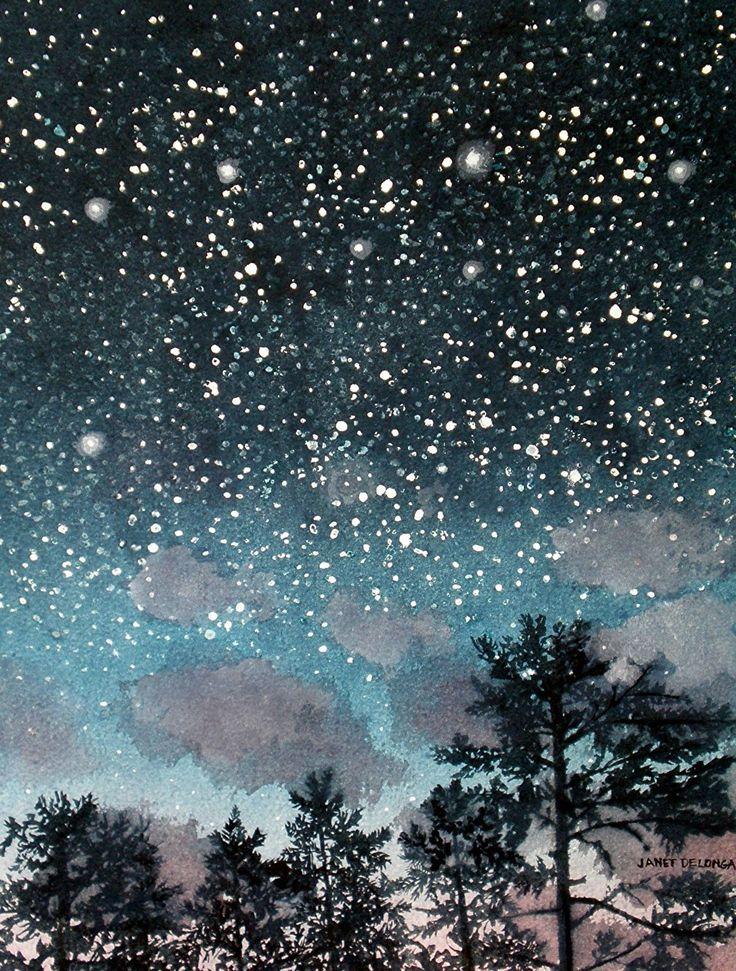 Night Falling by Janet DeLonga Watercolor ~ 15 x 11