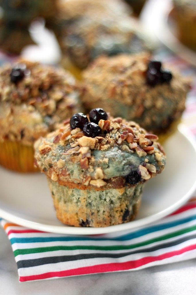 Greek Yogurt Blueberry Crumble Muffins - Incredibly moist and bursting with blueberries!