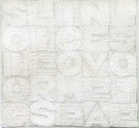 Alighiero Boetti - Sciogliersi come neve al sole, 1989 - Broderie sur tissu, cm 21x22, 5