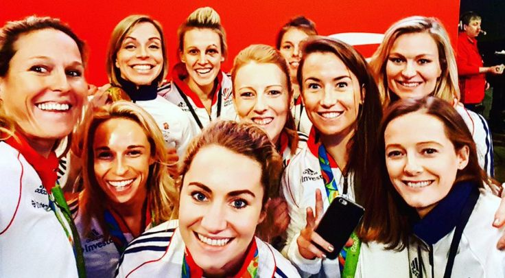 The Great Britain women's national hockey team represents Great Britain in international field hockey tournaments, and memorably took gold at the 2016 Summer Olympics in Brazil. Here some members of the GB team got together at the Super 6s National Indoor Hockey Finals at the SSE Arena in Wembley, London, last month, to post this great 'office selfie'—well, it is their workplace, after all!—to Twitter.