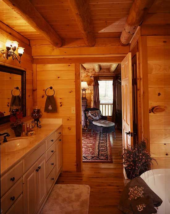 17 best images about log home bathrooms on pinterest for Log cabin bathroom pictures