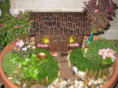 lights up at night! Miniature fairy garden www.facebook.com/AmyKateMiniatureGardensTerrariums
