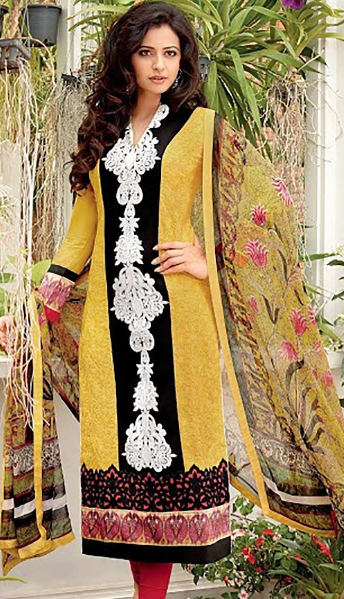 Buy Online Bollywood Latest Yellow Cotton Party Wear Dresses  #PartyWearDresses Link- http://alturl.com/98egq