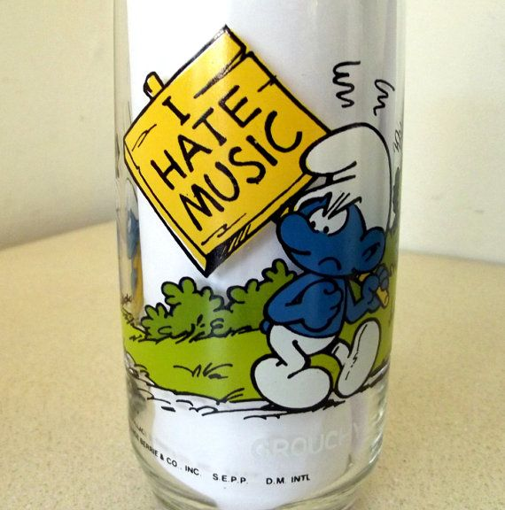 Vintage 1982 Cartoon Glass of GROUCHY Smurf by honeyblossomstudio, $5.00
