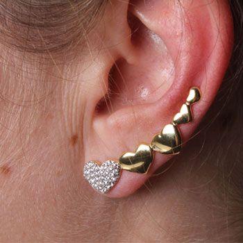 Brinco de Prata Contorno de Orelha com Banho de Ouro (Ear Cuff) Coração - 29262