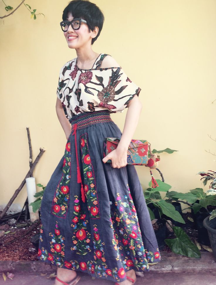 Wearing Batik Amarillis's smocked and Embroidered skirt with Hungarian style , Hungarian embroidery and Batik Indonesia :)