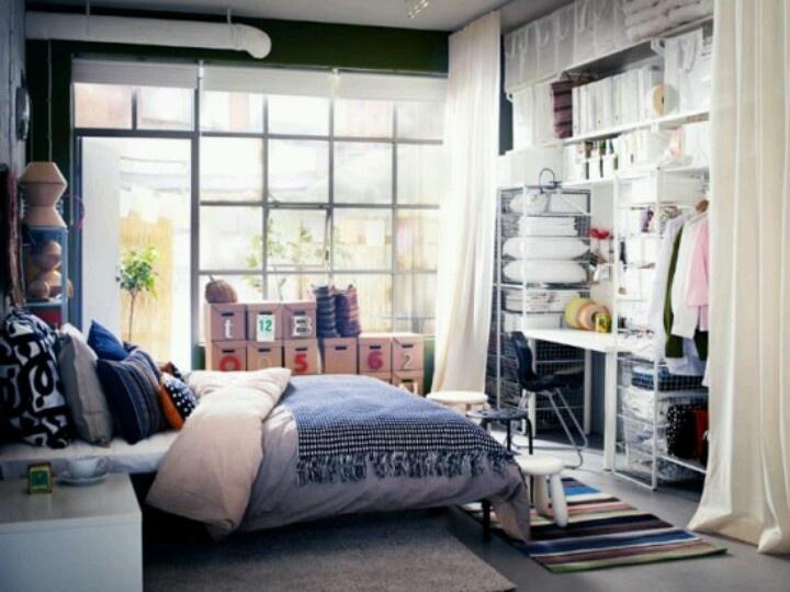 Bedroom With Open Closet