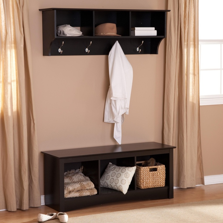 I Like The Bench Coat Rack Combo For An Entrance Hall Sonoma Black Triple Cubby Bench And Coat