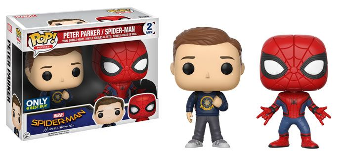 Spider-Man Homecoming: Peter Parker and Spider-Man homemade suit 2 pack Pop set by Funko, Best Buy exclusive