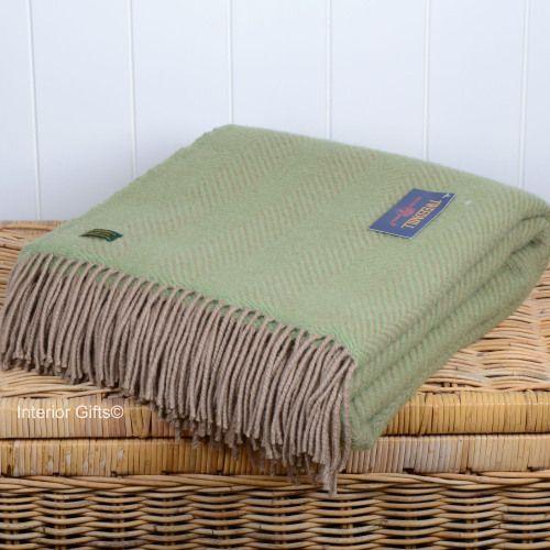 Tweedmill Green & Beige Herringbone / Fishbone Pure New Wool Throw
