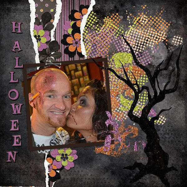 Using Spellbinding GDS collab kit and Torn Template by Dana;s Footprint Digital Designs  Sam and Sakhom after some makeup I did for their Halloween party.