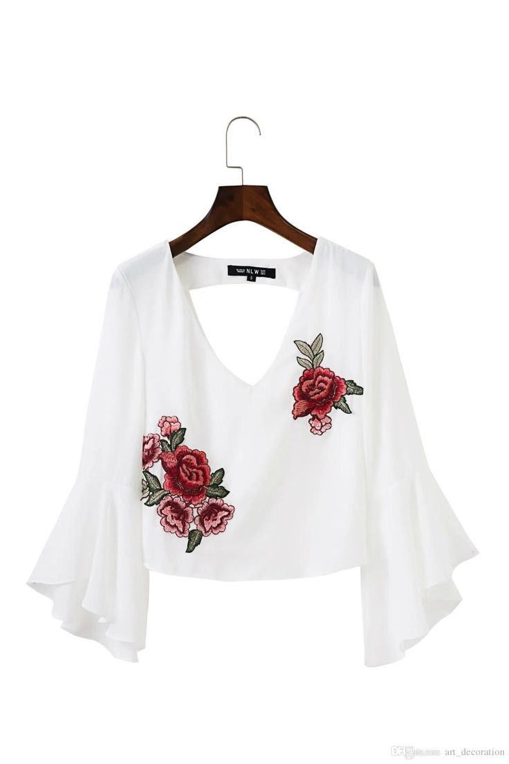 Design your own t shirt hong kong - Wholesale Backless Chiffon Blouse V Neck Embroidery Blouse Shirt Ruffle Short White Blouse Chemise Femme Casual Summer Tops Blusas Retro T Shirt Design Tee