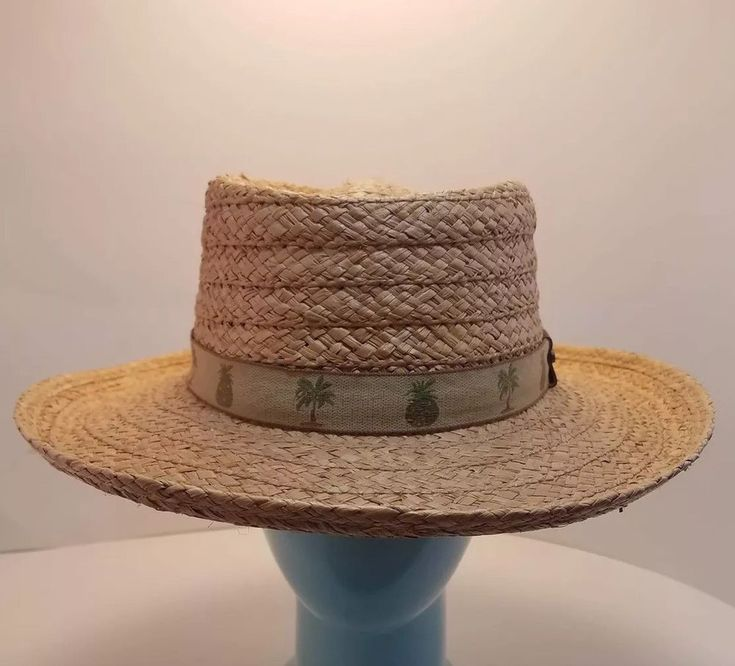 Scala Raffia Mens Palm Tree Pineapple Trim Panama Hat S M Cruise Safari Vintage …
