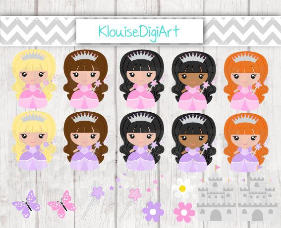 Cute Princess and Castle Digital Clipart by KlouiseDigiArt on Etsy