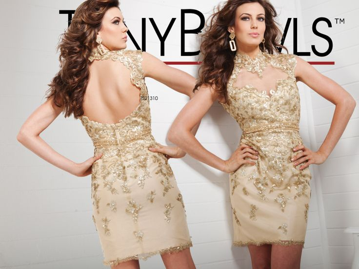 Evening gown, party dress, homecoming dress.  Illusion neckline, keyhole back, gold.  Tony Bowls Shorts»Style No. TS21310. Available at  http://thebridalcollection.com/special-occasions
