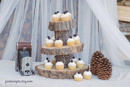 Rustic Wood Tree Slice 3-tier Cupcake Stand for your Wedding, Event, or Party (As seen on HGTV.com and The Tomkat Studio). $49.99, via Etsy.: Idea, Cupcake Stands, Tree Slice, Wedding, Cup Cake, Rustic Wood, Woods, Sliced Wood