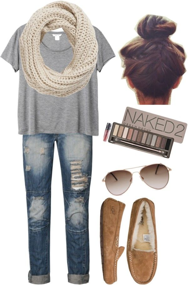 Grey oversized t, Med. wash destroyed skinnies, Cream cable knit circle scarf, Chestnut Mocs, Naked palette eye makeup