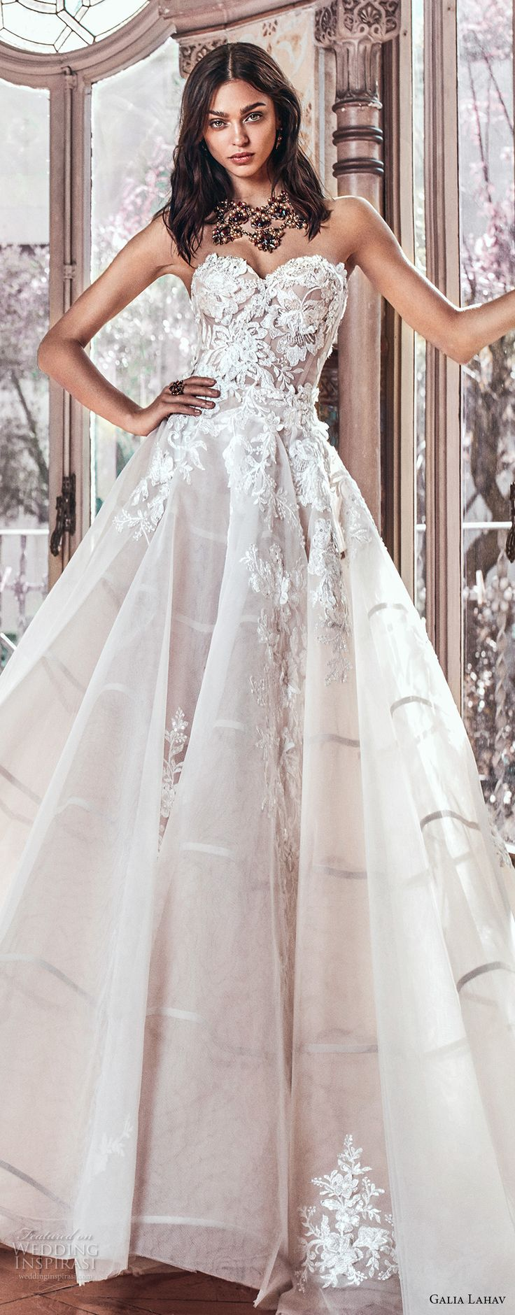 galia lahav spring 2018 bridal strapless sweetheart neckline heavily embellished bodice romantic princess blush color ball gown a  line wedding dress chapel train (alma) zv -- Galia Lahav Spring 2018 Wedding Dresses