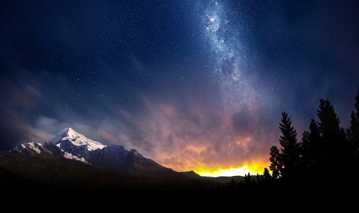 Nachtelijke hemel van Noorderlicht in Zwitserland