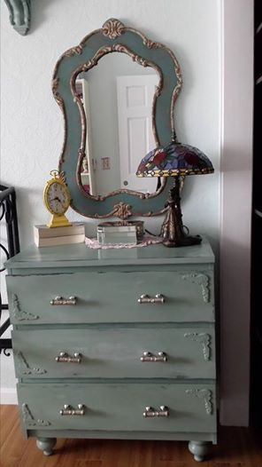 painted Ikea malm dresser with Annie Sloan chalk paint, added pedestal feet from Lowes, and handles came from Hobby Lobby.
