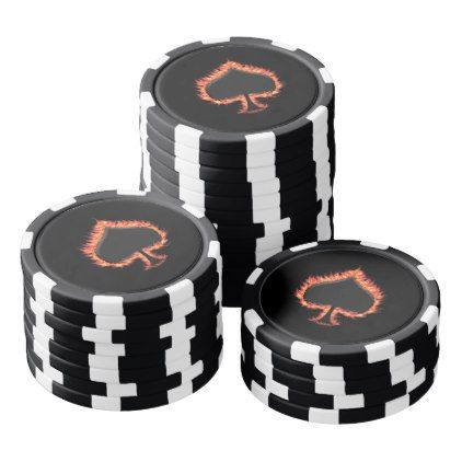Spades Flames Poker Chips Set - home gifts ideas decor special unique custom individual customized individualized
