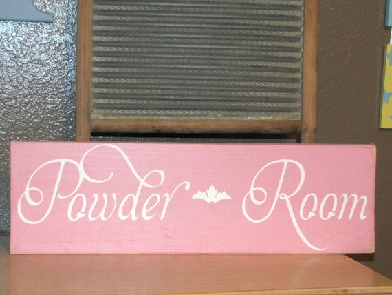 Powder Room Wood Primitive Sign Shabby Chic Wall by CAPrimlover   12 00. 104 best Bathroom Signs images on Pinterest   Bathroom signs