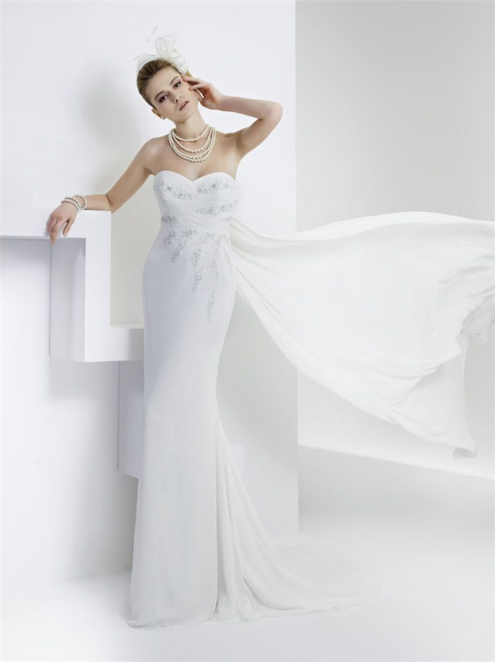 AFN strapless white wedding gowns