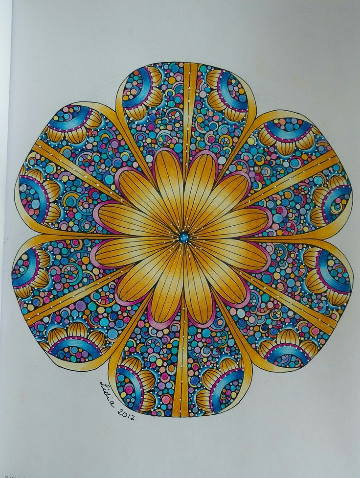 Finished page from Creative Coloring Mandalas by Valentina Harper