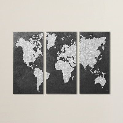 Brayden Studio Gray Map 3 Piece Painting Print on Wrapped Canvas Set