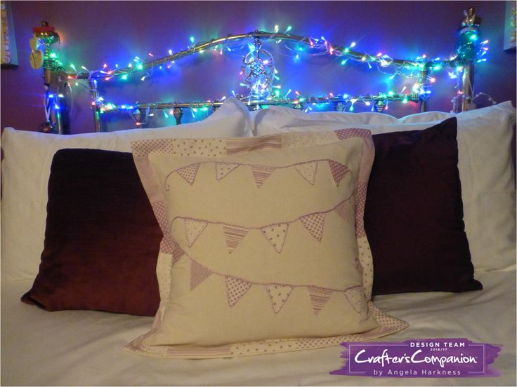 """Embroidered bunting appliqué cushion using Debbie Shore 12"""" nesting triangle template. Designed by Angela Harkness       #crafterscompanion"""