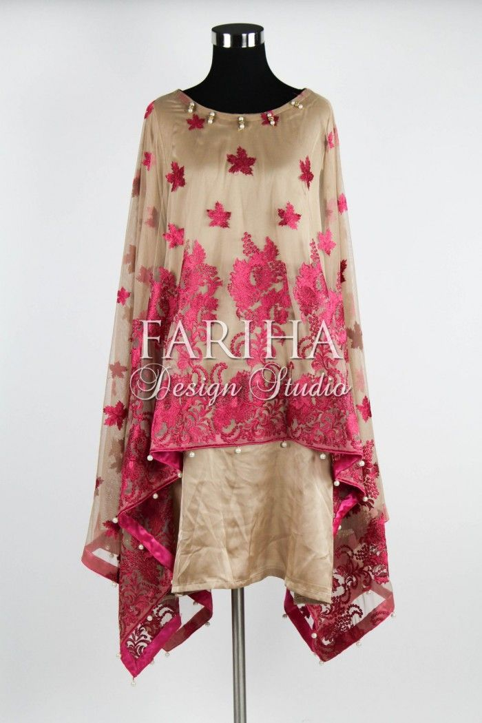 TAN AND STRAWBERRY PINK EMBROIDERED NET CAPE