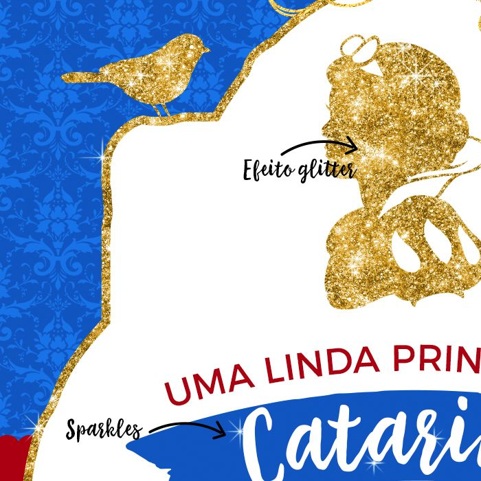 Convite Princesa Branca de Neve Glitter Disney para Imprimir