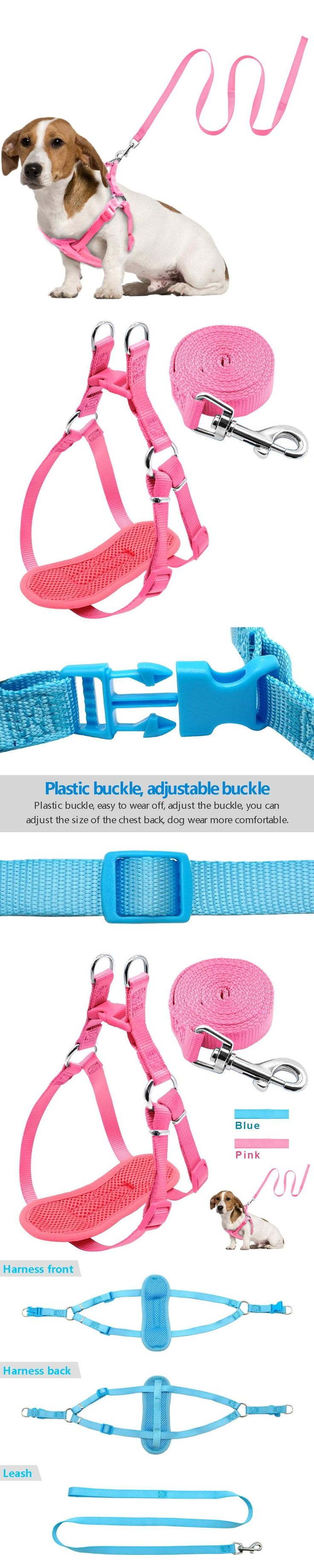 No Pull Dog Harness and Leash Set Nylon Mesh Adjustable Vest For Small Puppy Medium Dogs Pink Blue 2 Size S M http://www.barklands.com/product-category/car-accessories/vehicle-ramps/