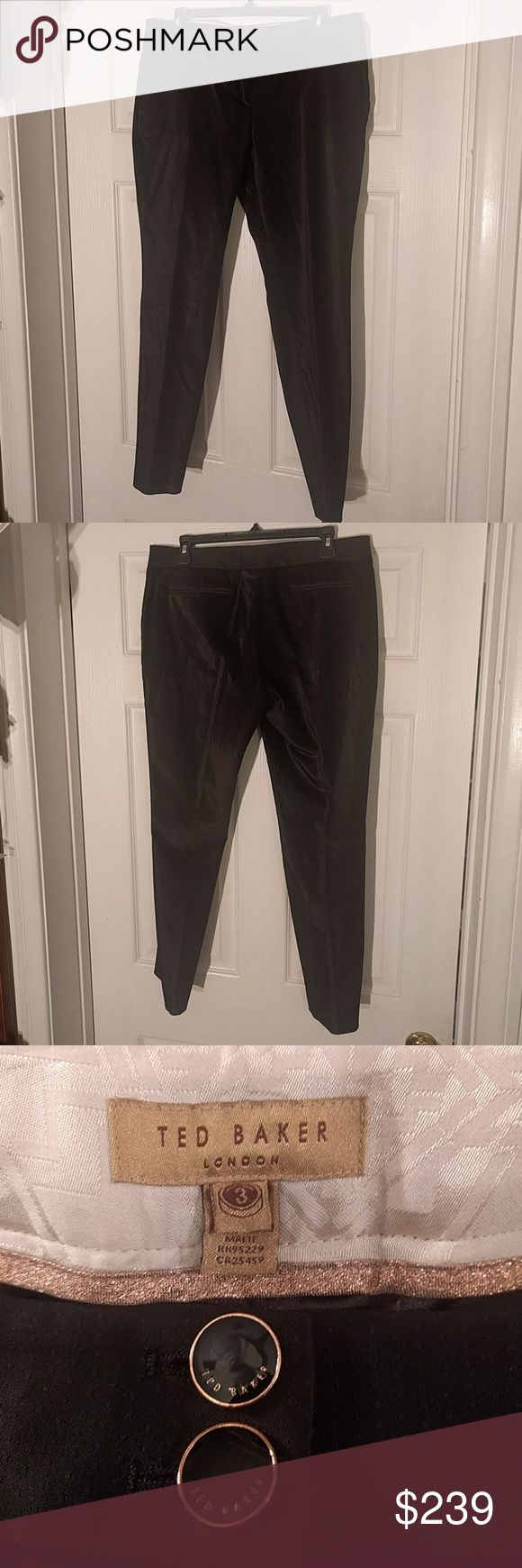 Ted Baker trousers Black cropped velvet trousers. Great condition, worn once. Ted Baker London Pants Ankle & Cropped