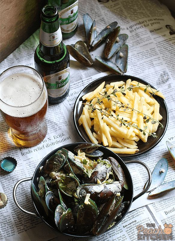 San Miguel Premium All Malt Beer Paired with Mussels and Fries | The Peach Kitchen