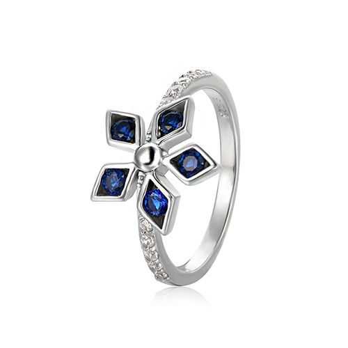 Blue Spinel & CZ Flower Silver Ring