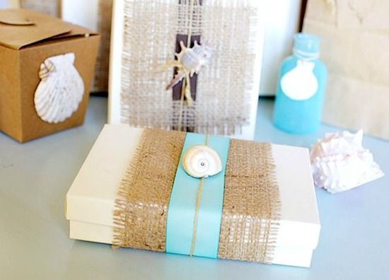 Simple Gift Wrapping Ideas at Beach Bliss Living: http://beachblissliving.com/simple-gift-wrapping-ideas-brown-paper-twine-shells/