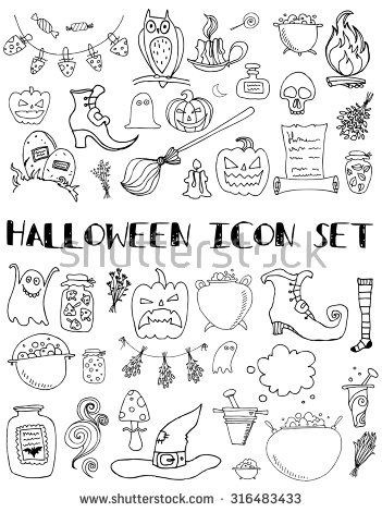 Set of halloween icons. Hand draw creative collection for web, party, card, invitation. Elements for design. Vector. Halloween series