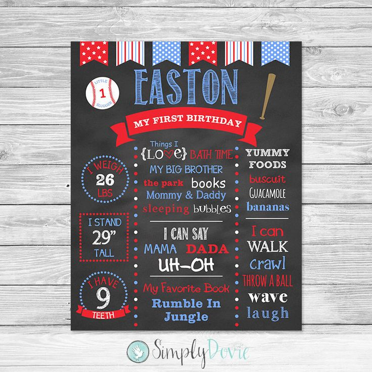 Baseball First Birthday Chalkboard Poster Printable - First Birthday Chalkboard Sign - Baseball by SimplyDovie on Etsy https://www.etsy.com/listing/187687858/baseball-first-birthday-chalkboard