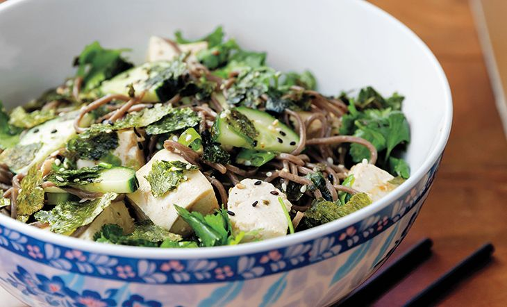 Buckwheat Soba Noodles with Fresh Tofu and Lemon-Ginger Dressing Recipe |  	 	James Beard Foundation