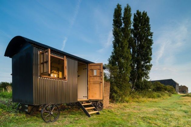Escape to the wildlife of the Emley Nature Reserve in these vintage shepherds huts - the only UK reserve where you can stay.