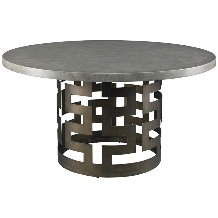 Lillian August Belgrave Dining Table Base With 54 Inch Faux Concrete Top