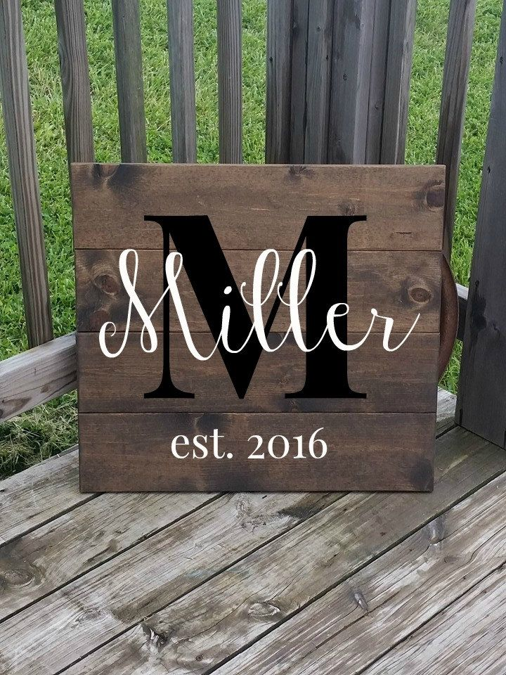 Large last name sign. Makes a perfect gift for a new couple or even for yourself!  ~~Please read entire listing~~  Current ship time can be found under the Shipping tab. If you are wanting it sooner, please add my rush order listing to your cart when ordering. It can be found here: https://www.etsy.com/listing/233873734/rush-shipping-available-for-3-5-day?ref=shop_home_active_1 The rush order listing will have your sign ready to ship in 3-5 days. Please send me a message if you have any…