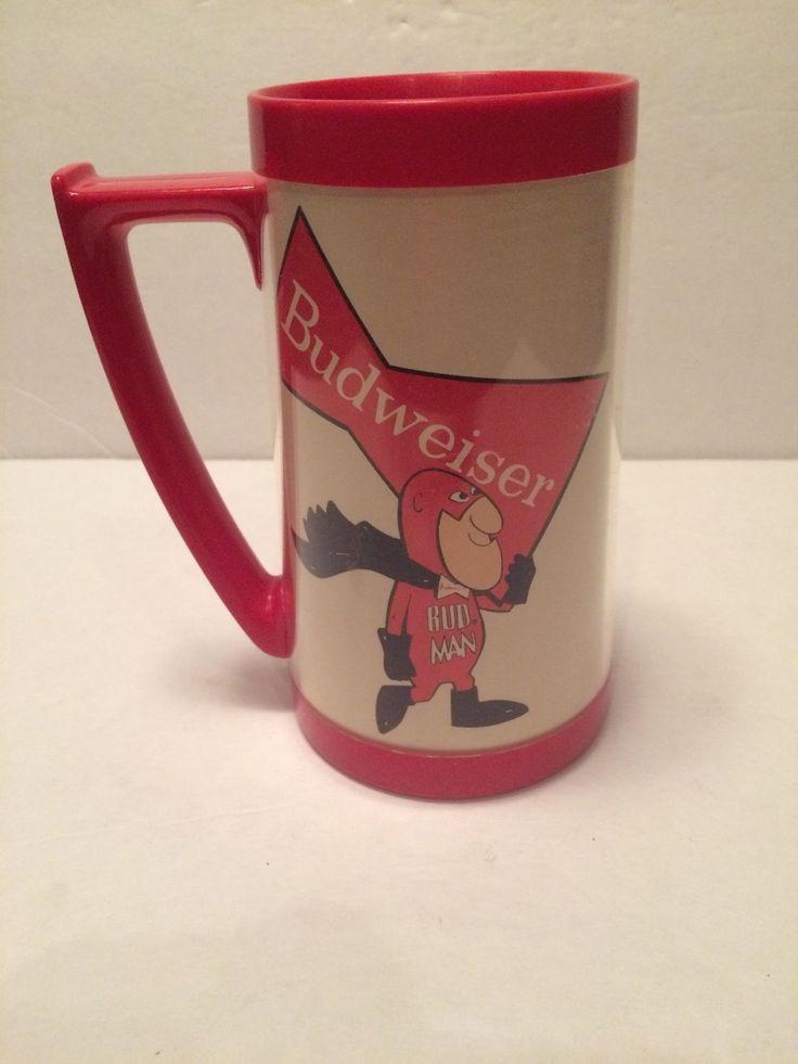 Rare Vintage Budweiser Bud Man Colorful Thermo Serv Thermal Coffee Mug Drink Cup