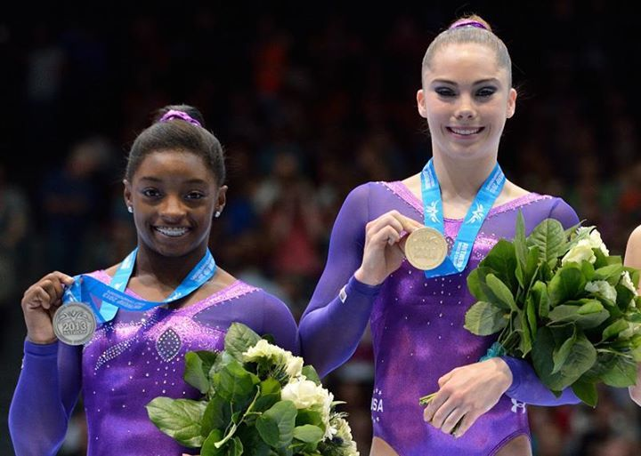 Mckayla Maroney (gold), Simone Biles (silver). Vault 2013 World Championships.
